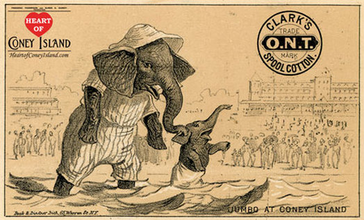 Jumbo the Elephant Victorian trade card for Clark's Spool Cotton