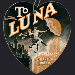 Luna Park vintage ticket couple riding umbrella
