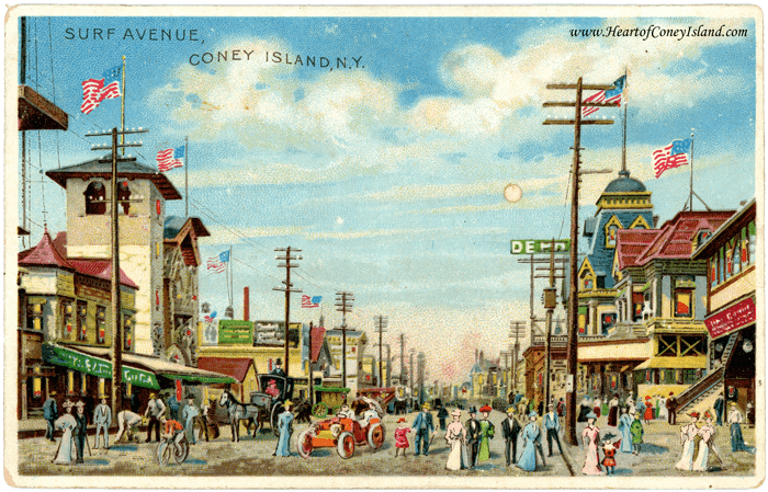 Coney Island Koehler Hold to Light Postcard Surf Avenue