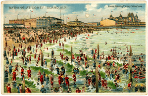Coney Island Beach Koehler Hold to Light Postcard