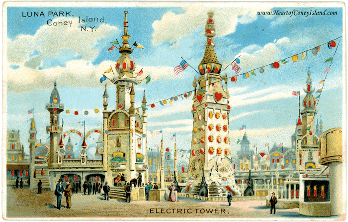 Coney Island Koehler Hold to Light Postcard Luna Park Tower