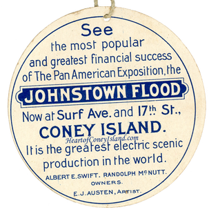 Johnstown Flood Ticket Tag Coney Island