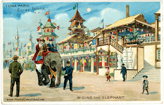 Coney Island Koehler Hold to Light Postcard Luna Park