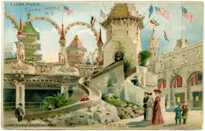 Coney Island Koehler Hold to Light Postcard Luna Park Slide Helter Skelter